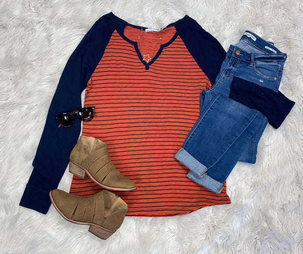 Long-sleeved Striped Top