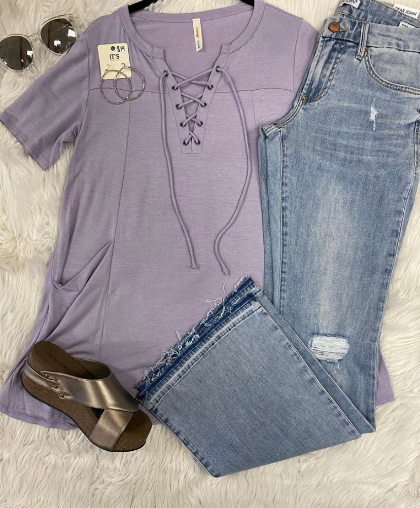 Lavender Lace Up Top