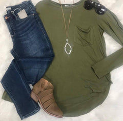 Olive Basic Long Sleeve Tee