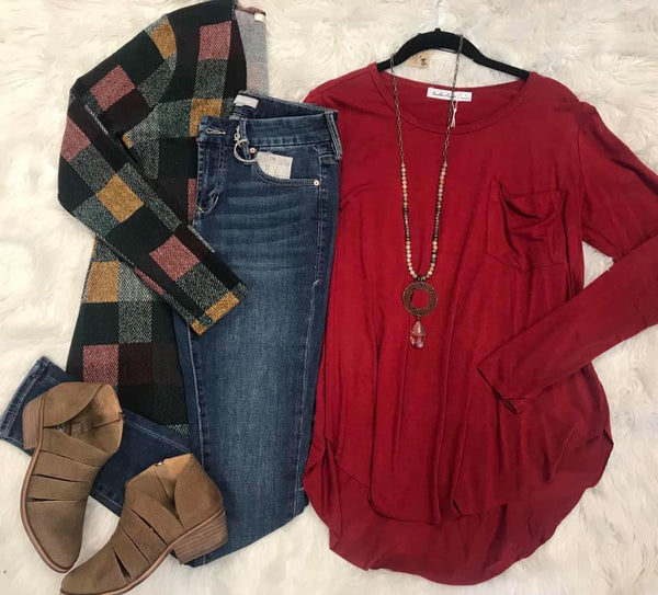 Red Long Sleeve Basic Tee