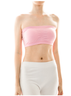 Bandeau with Built in Bra - Available in White or Nude