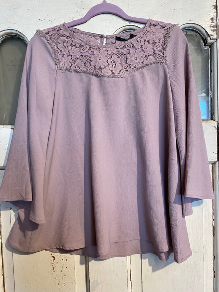 Mauve Lace Detail Top