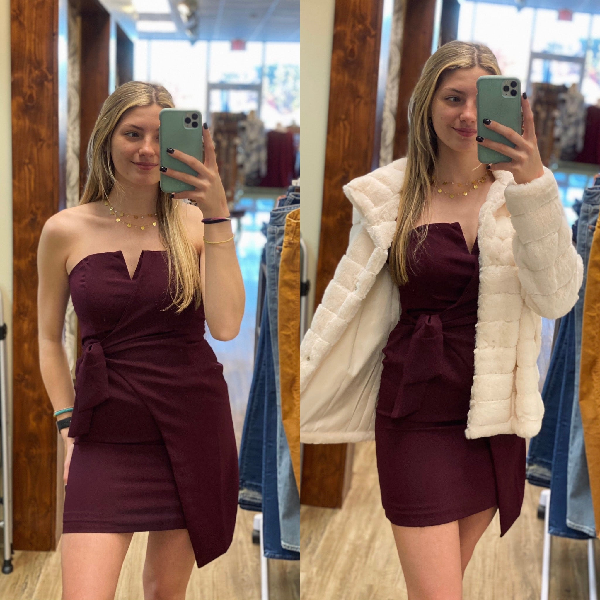 Plum Strapless Dress With Side Tie