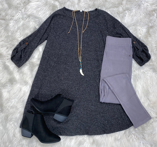 Curvy Brushed Fabric Tunic