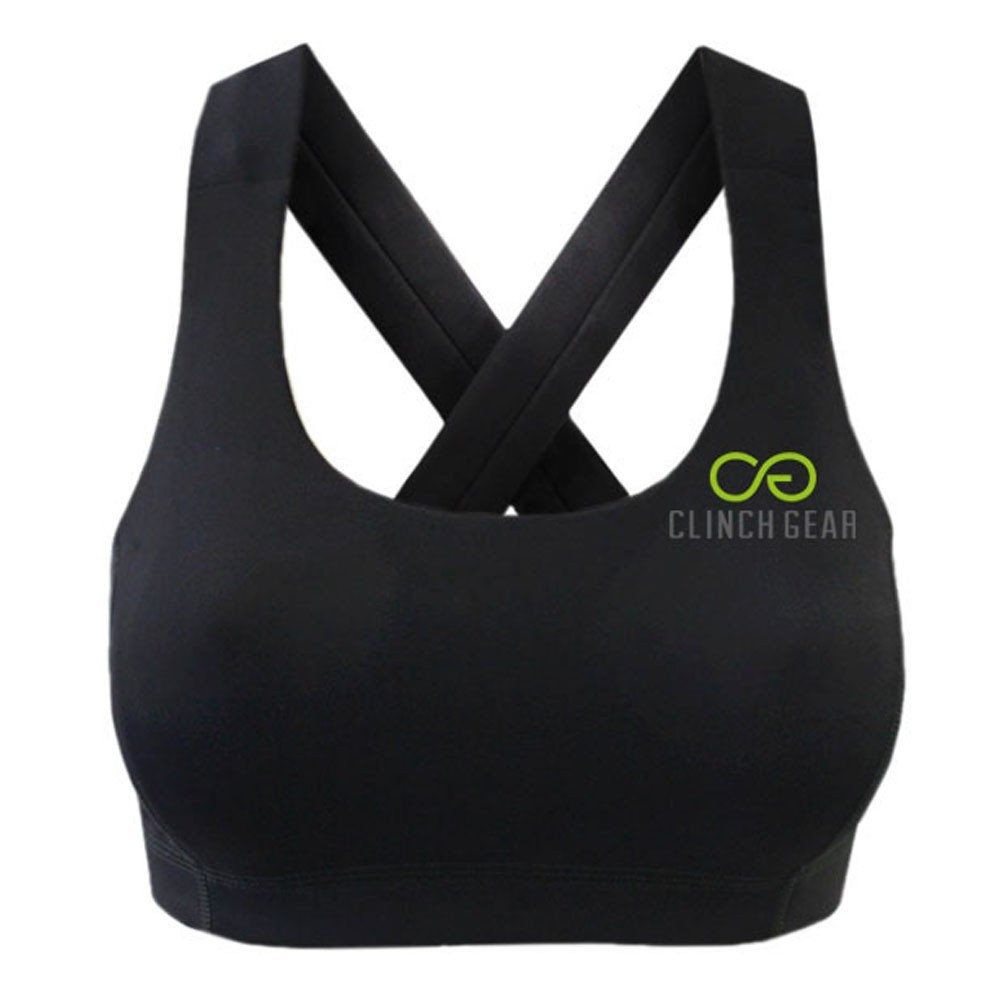 Performance Racerback Sports Bra - Lux - Black/Lime Green - Clinch Gear