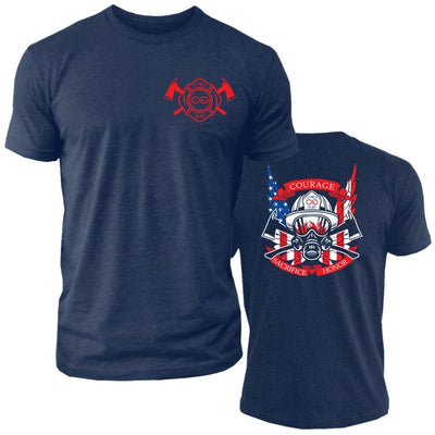 Thin Red Line - Shield - Crew Tee - Navy