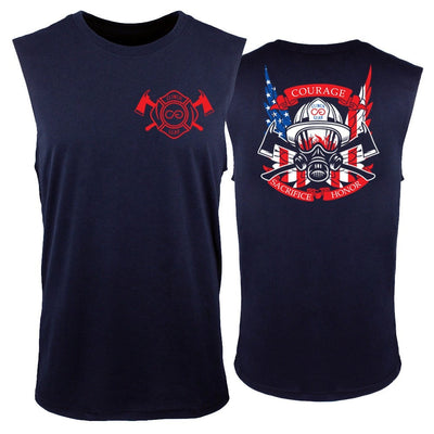 Thin Red Line - Shield - Muscle Tank - Navy