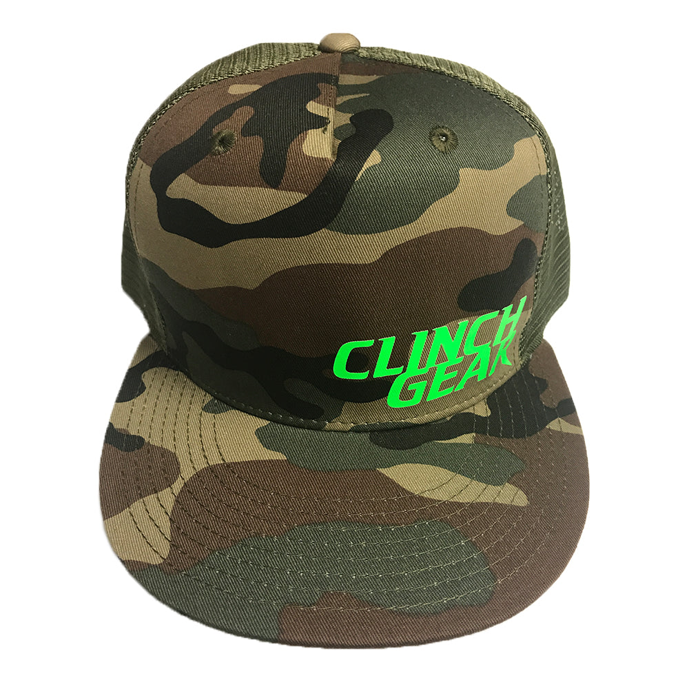 Stacked – Snapback Hat – Woodlawn Camo – Lime Green