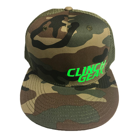 Stacked – Snapback Hat – Woodlawn Camo – Lime Green - Clinch Gear