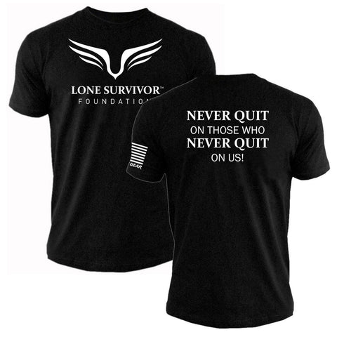 Mens Lone Survivor Foundation 2017 - Never Quit - Crew Tee - Black - Clinch Gear