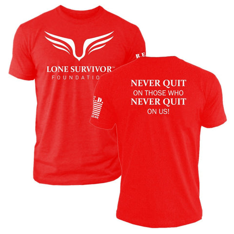 Mens Lone Survivor Foundation 2017 - Never Quit - Crew Tee - R.E.D