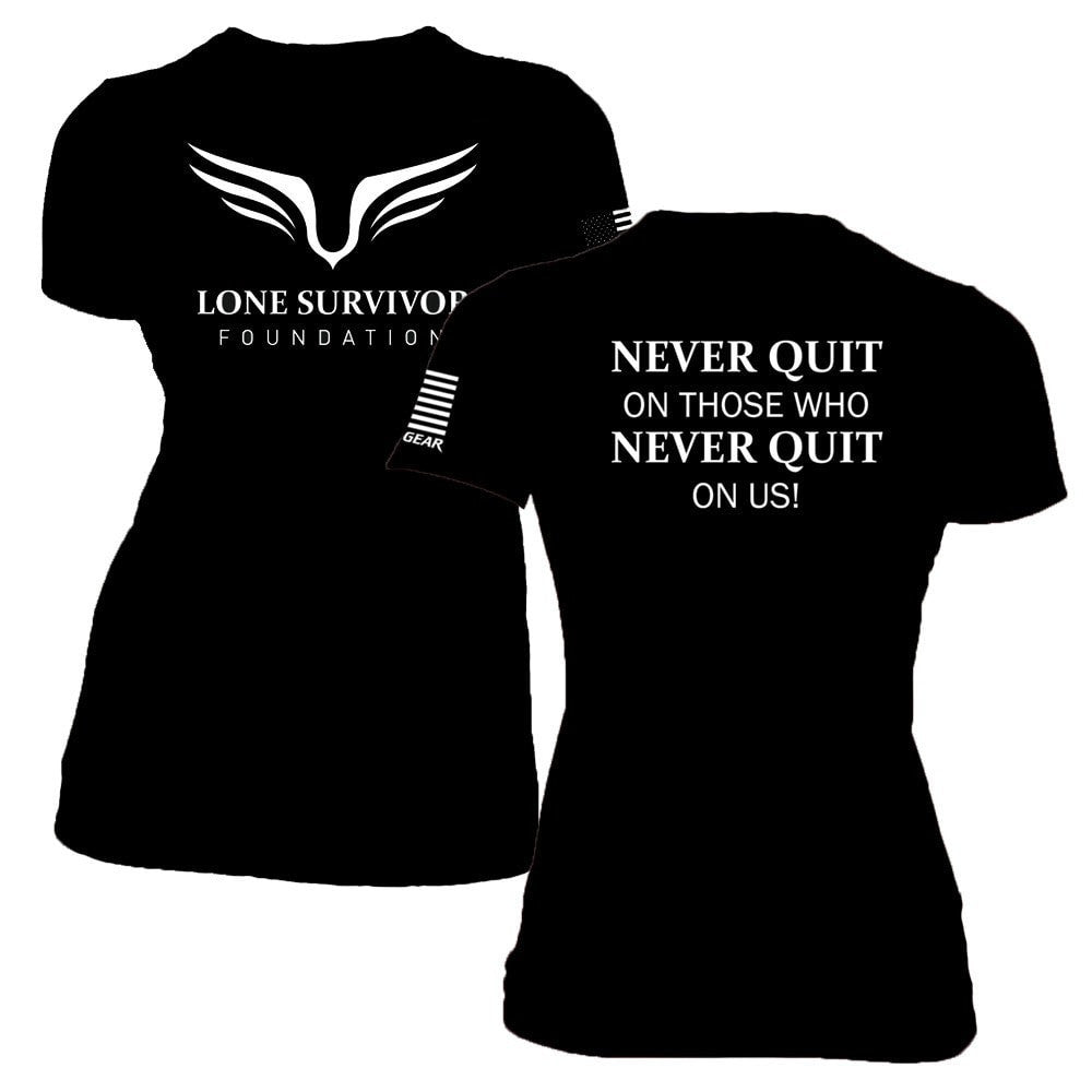Women's Lone Survivor Foundation 2017 Crew Tee - Never Quit - Black - Clinch Gear