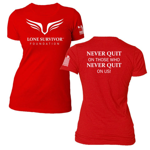 Women's Lone Survivor Foundation 2017 Crew Tee - Never Quit - R.E.D - Clinch Gear