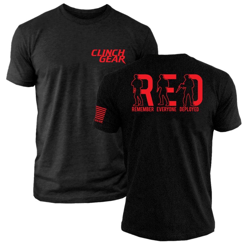 R.E.D. Remember Everyone Deployed - Crew Tee - Black - Clinch Gear