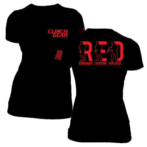 Women's R.E.D. Remember Everyone Deployed - Crew Tee - Black - Clinch Gear