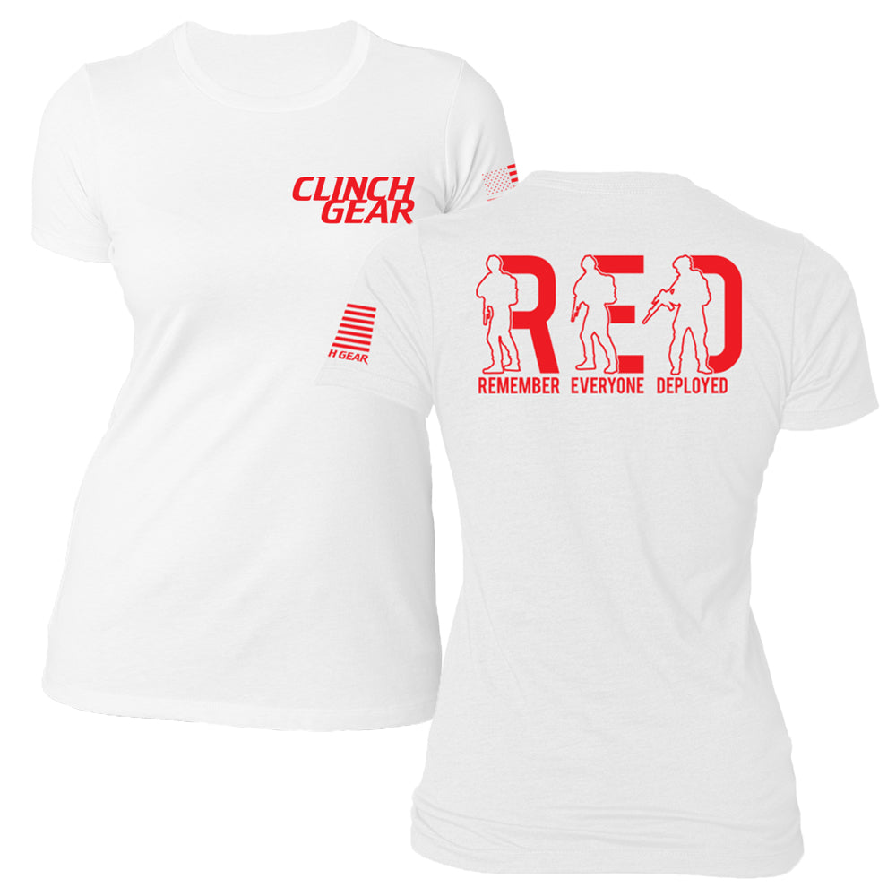Women's R.E.D. Remember Everyone Deployed - Crew Tee - White - Clinch Gear