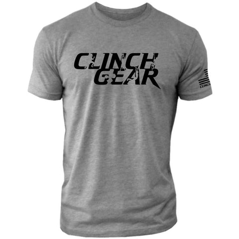 Clinch Gear Stacked – Crew Tee – Grey