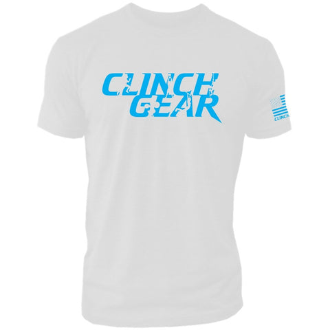 Clinch Gear Stacked – Crew Tee – White