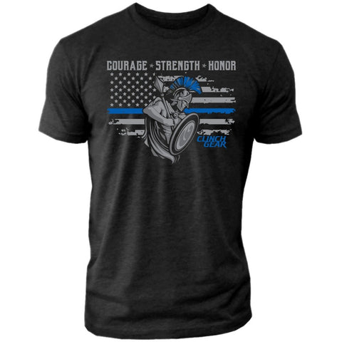 Thin Blue Line - Shield - Crew Tee - Black