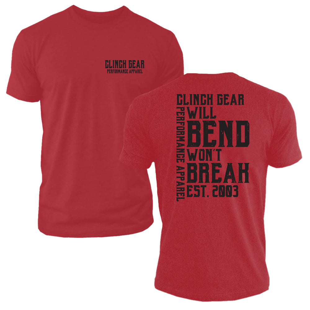 Clinch Gear - Will Bend Won't Break – Est. 2003 - Men's Crew – Cardinal Red - Clinch Gear