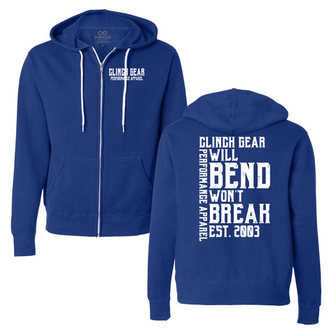 Clinch Gear - Will Bend Won't Break - Est. 2003 - Unisex Zip Hoody - Cobalt Blue - Clinch Gear