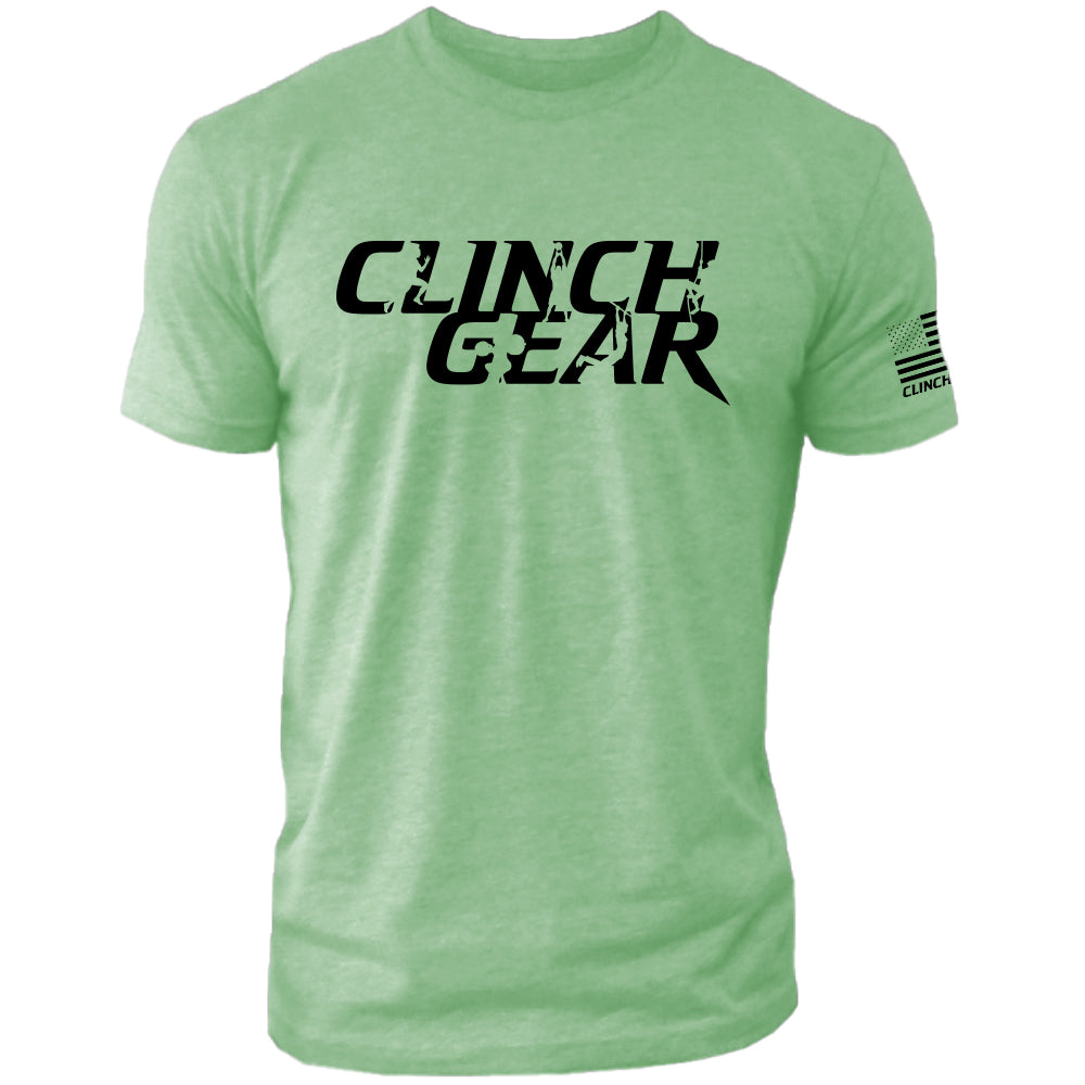 Clinch Gear Stacked – Crew Tee – Apple Green/Black - Clinch Gear