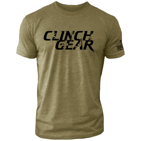 Clinch Gear Stacked – Crew Tee – Military Green/Black - Clinch Gear