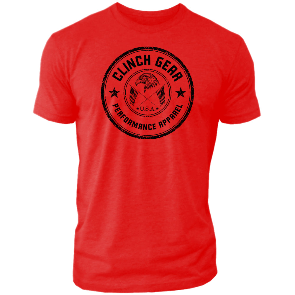Clinch Gear Stamp Seal - Crew Tee - Red - Clinch Gear