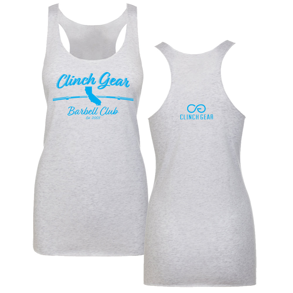 Clinch Gear Barbell Club - California - Women's Racerback Tank - White/Cyan