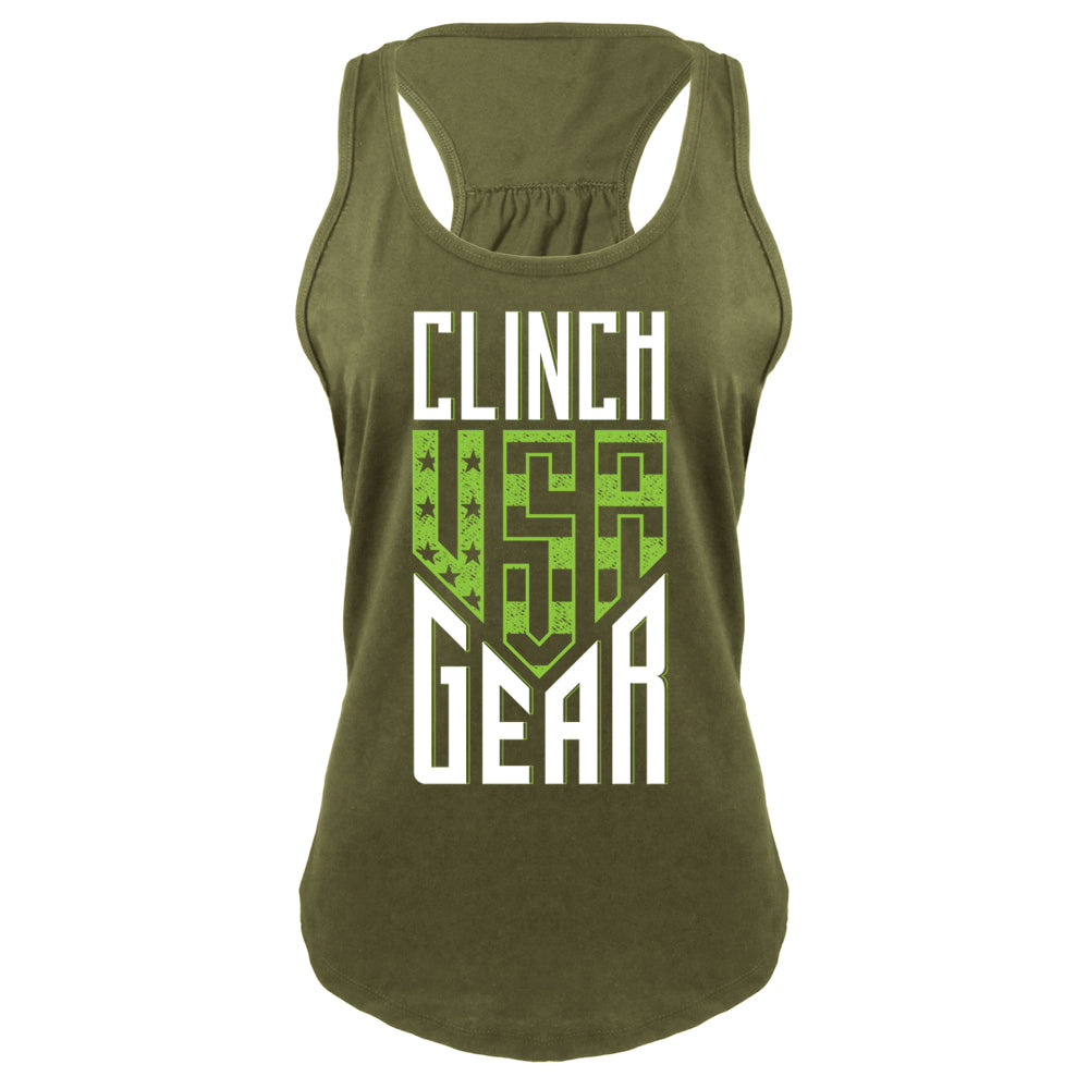 Clinch Gear - USA - Racerback Tank - Military Green - Clinch Gear