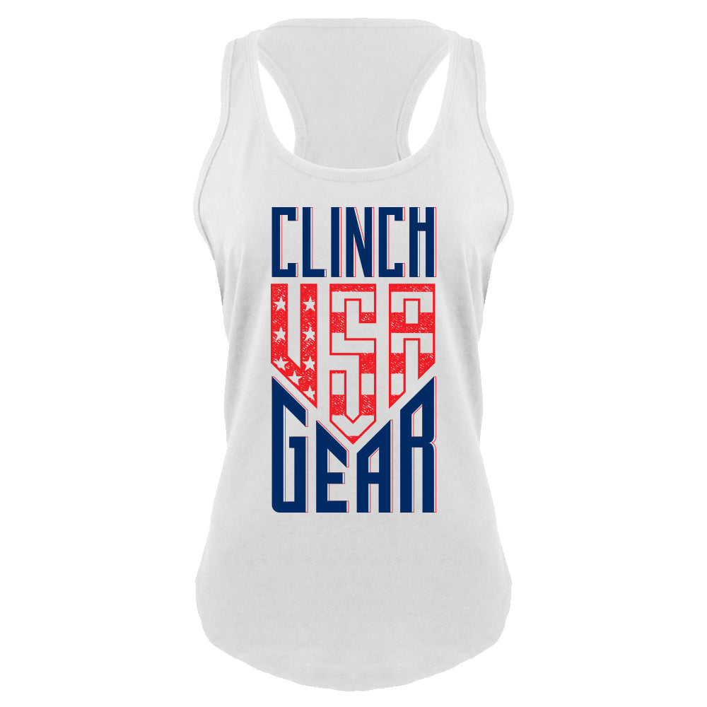 Clinch Gear - USA - Racerback Tank - White - Clinch Gear