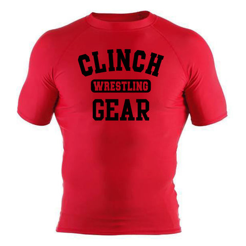 Clinch Gear Wrestling - Rash Guard - Short Sleeve - Red/Black