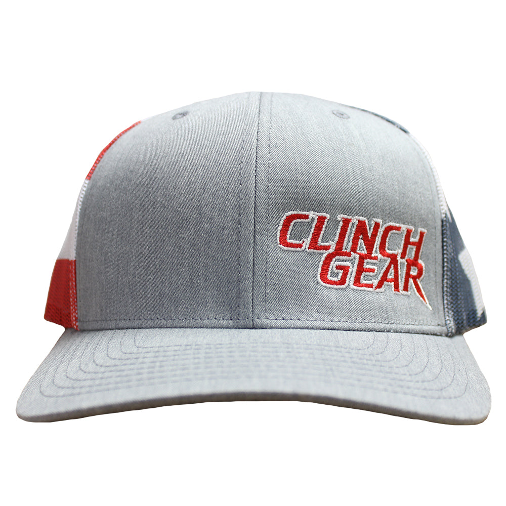 CG Stacked – Snapback Hat – Heather Gray/USA – Red/White