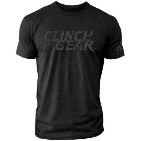 Clinch Gear Stacked – Crew Tee – Black/Gray