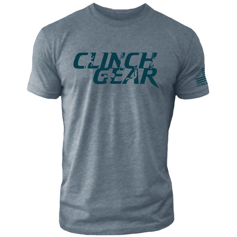 Clinch Gear Stacked – Crew Tee – Indigo/Indigo