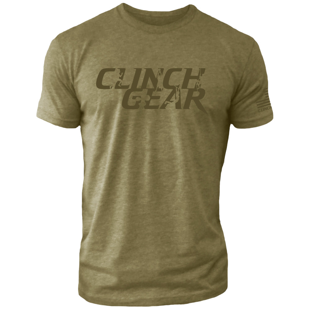 Clinch Gear Stacked – Crew Tee – Military Green/Green