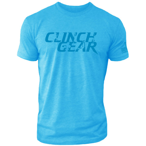 Clinch Gear Stacked – Crew Tee – Turquoise/Blue