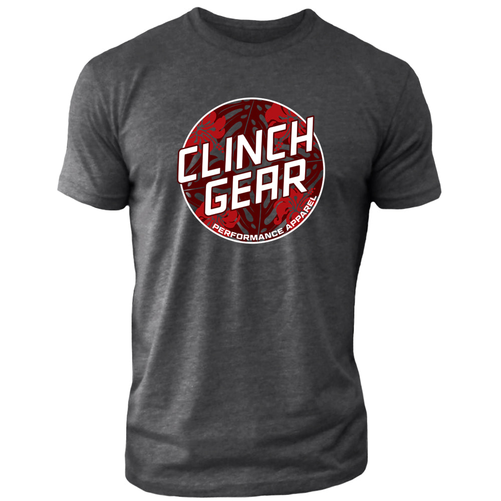 Clinch Gear Summertime – Crew Tee – Charcoal/Red