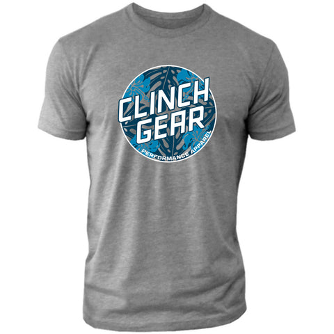 Clinch Gear Summertime – Crew Tee – Heather Gray/Blue