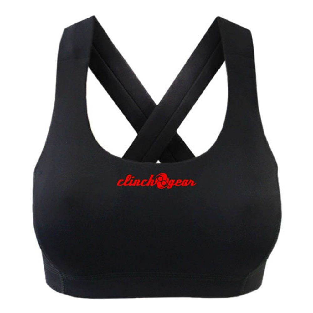 Performance Racerback Sports Bra - Crush - Black/Red - Clinch Gear