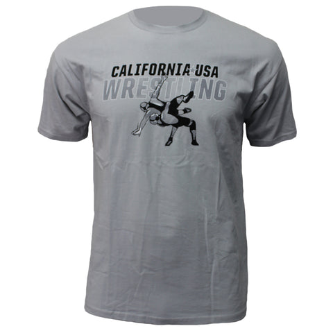 CA/USA Wrestling Suplex - Crew Tee - Grey - Clinch Gear