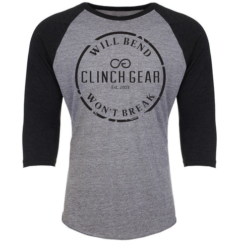 Classic Raglan 3/4 Sleeve Uni-Sex - Heather/Black - Clinch Gear