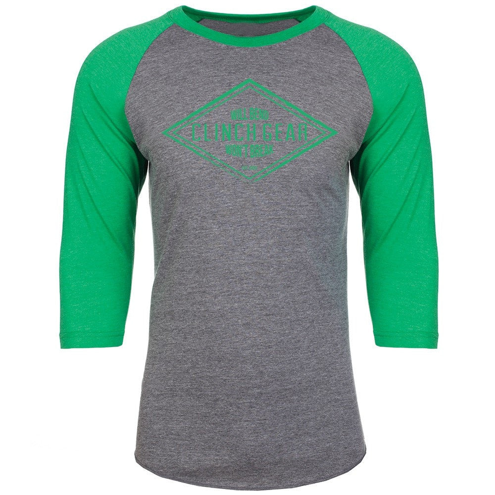 Diamond Raglan 3/4 Sleeve Uni-Sex - Heather/Envy Green