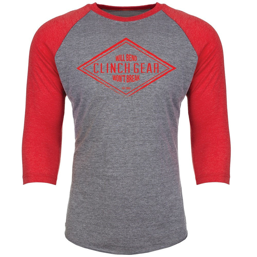 Diamond Raglan 3/4 Sleeve Uni-Sex - Heather/Red - Clinch Gear