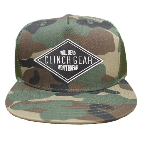 Will Bend Won't Break  – Snapback Hat – Woodlawn Camo – Embroidered Patch