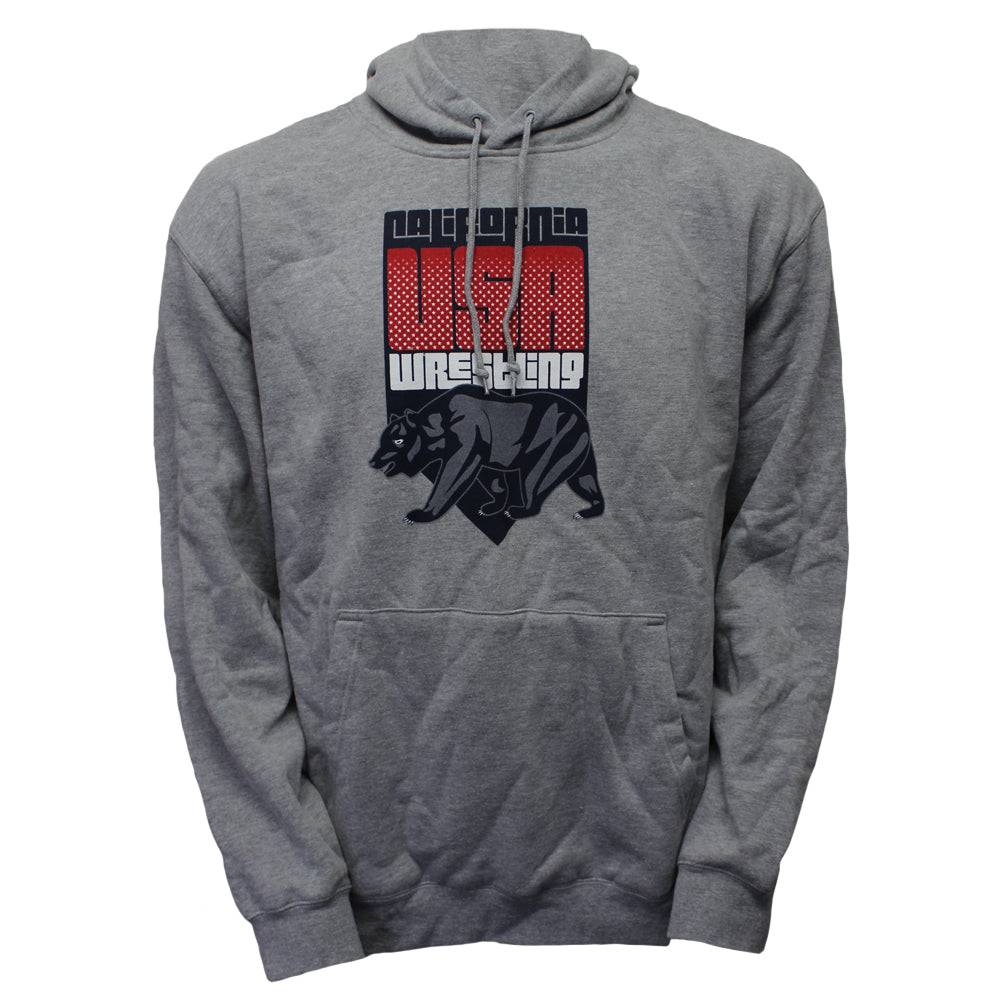 Running Bear Wrestling - Youth Pullover Hoodie - Heather Grey - Clinch Gear