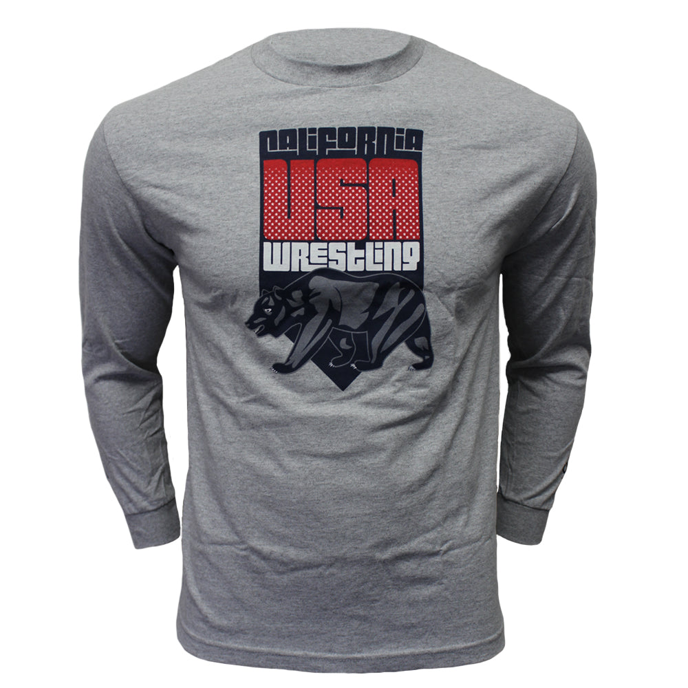Running Bear Wrestling - Long Sleeve - Youth - Heather Grey - Clinch Gear