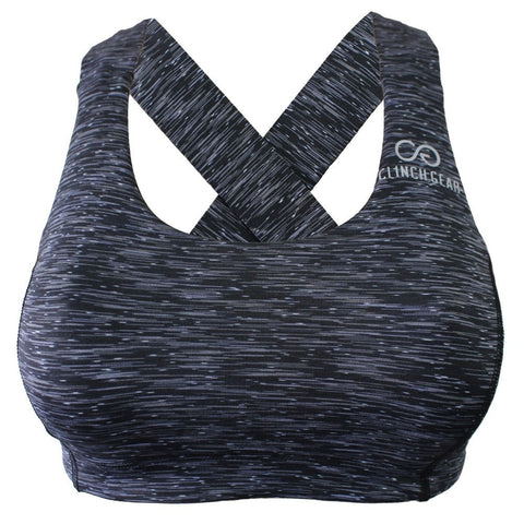 Multi-Sport Racerback Sports Bra - Black - Grey/White - Clinch Gear