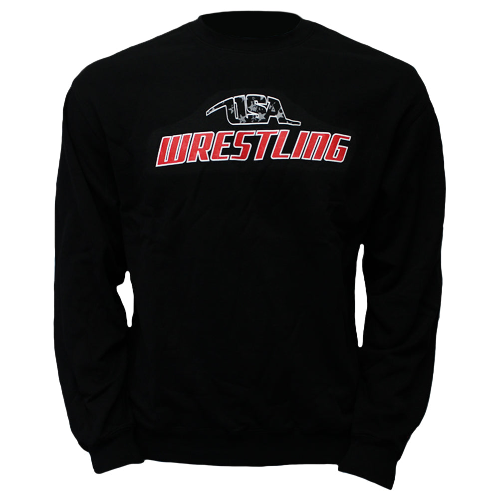 USA Wrestling - Youth Crew Sweatshirt - Black - Clinch Gear