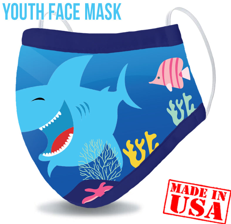 Youth Reusable Washable 3 Layer Protection Face Mask - Shark